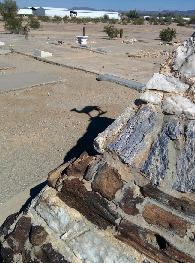 shadow of the camel on top of the monument