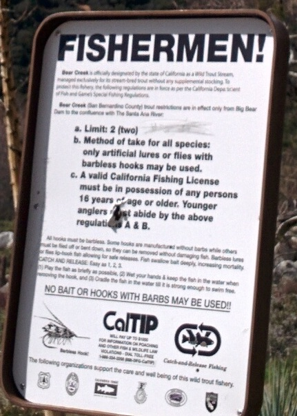 Sign Informing Fishermen of the rules