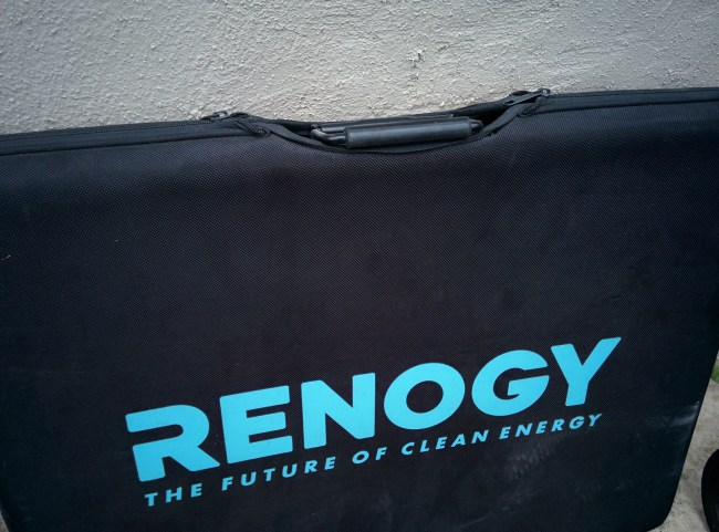 Renogy solar suitcase zipped up in its case