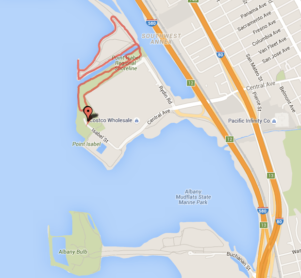 Map Showing How Close Pt. Isabel and the Albany Bulb Are