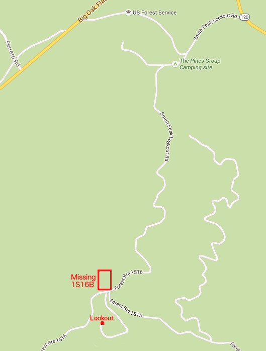 Google Map Showing Lookout Access Road But No 1S16B