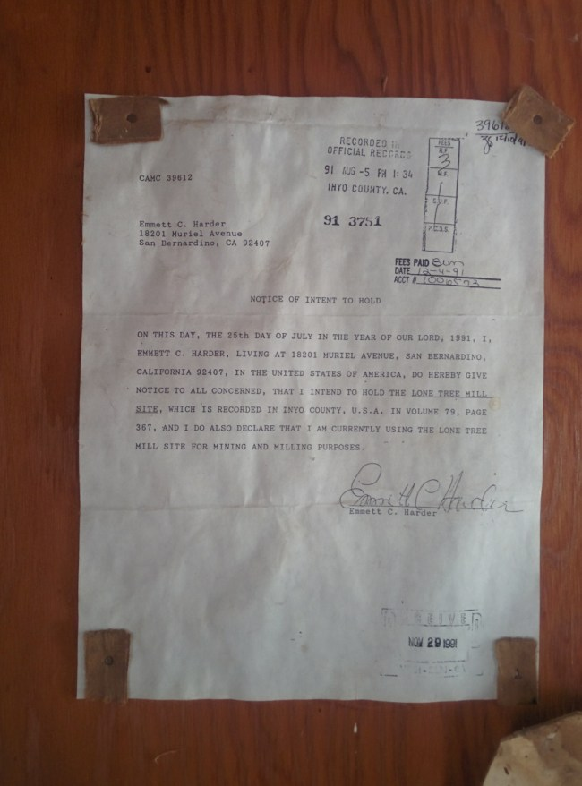 Document Showing Mr. Harder's Claim on the Site