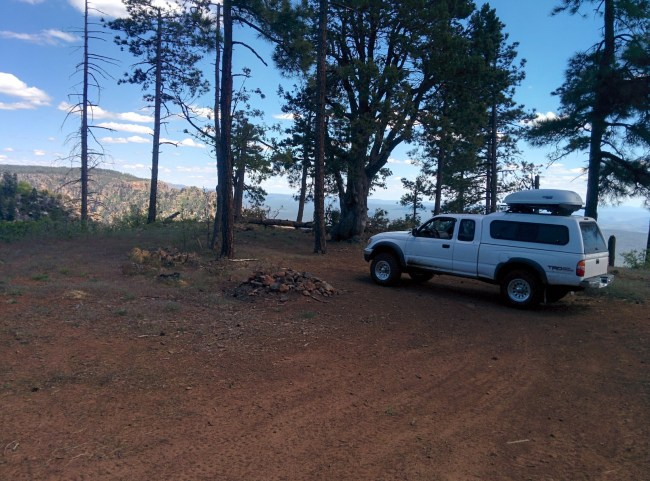 Parked on the actual rim of the Mogollon Rim