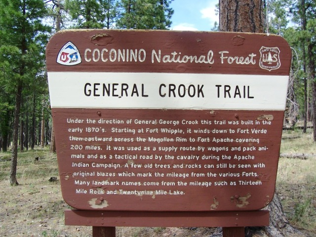 close up of the General Crook Trail sign