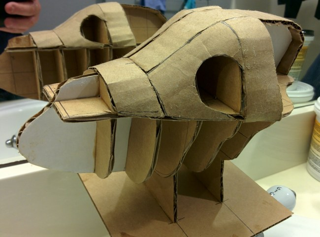 cardboard mock up of a dog's head