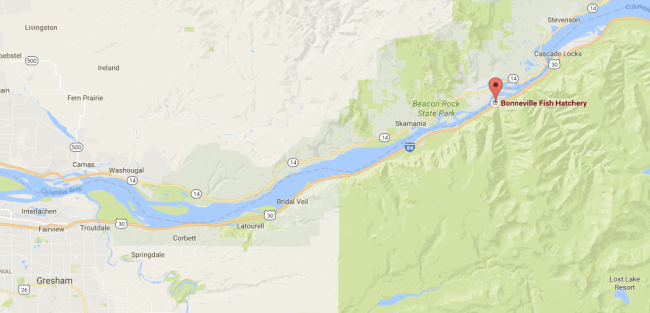 Map of the columbia river gorge scenic area