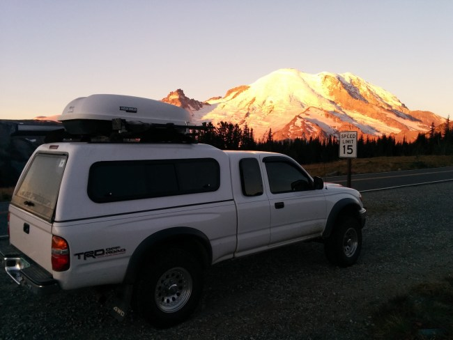 Picture of our Tacoma with Mt. Rainier in the background just after sunrise