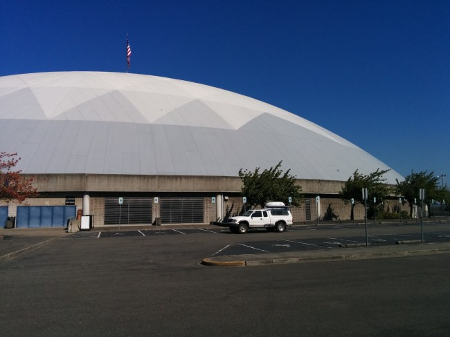 Our Tacoma parked next to the dome On The Backside Of The Tacoma Dome