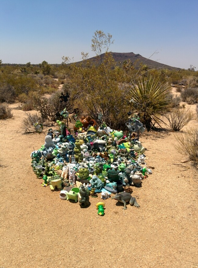 Pile of frog-related items about 50 feet behind the Mojave Mailbox
