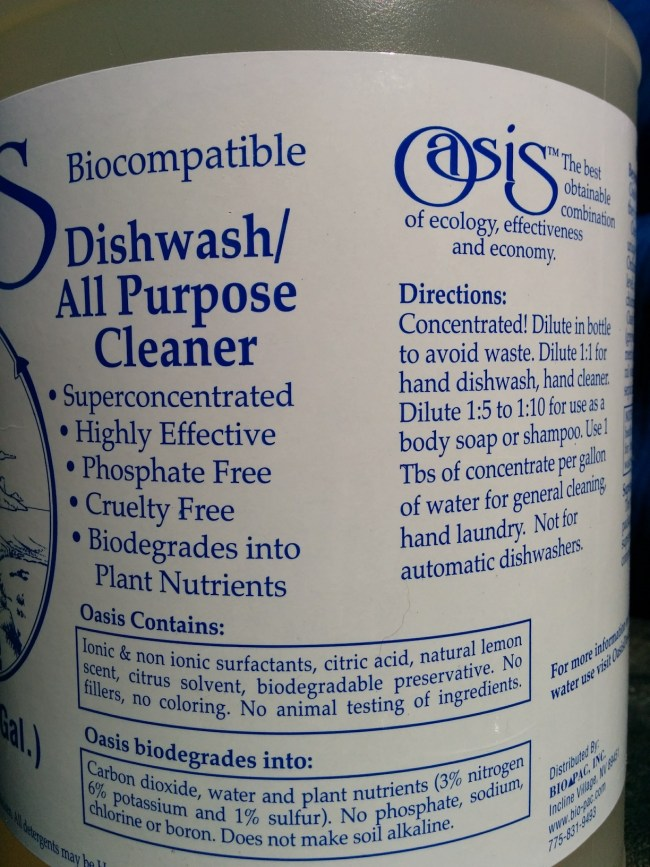 Oasis cleaner label #1