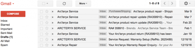 gmail list of emails regardsing our Arc'teryx product warranty repair
