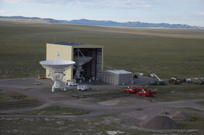 Aerial view of The VLA Barn and its Transporters