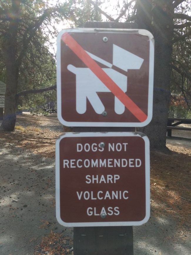 "Sign warning that this trail is not recommended for dogs because of ""Sharp Volcanic Glass"""