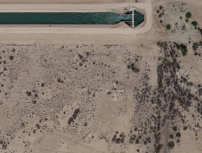 Satellite picture of a corona test target from Google Earth