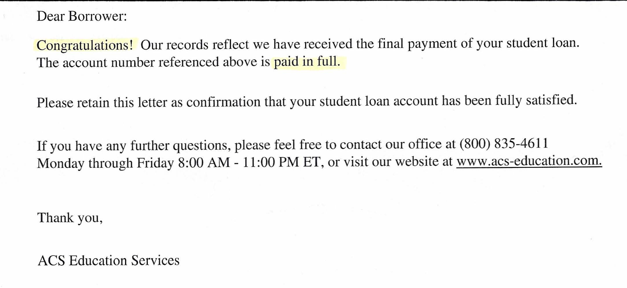 Sample Payoff Request Letter Personal Loan