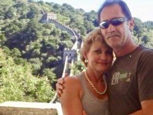 man and woman at Wall of China