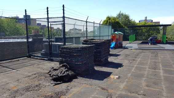 Removing Old Rubber Tiles for Rooftop Playground Rubber Tile Surface Replacement | Brooklyn NY | adventureTURF