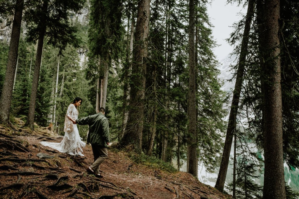 Dolomites elopement shoot at Lago Di Braies by Wild Connections Photography
