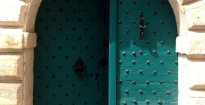Pretty Deep Teal Door in Chaumont Centre Ville, France