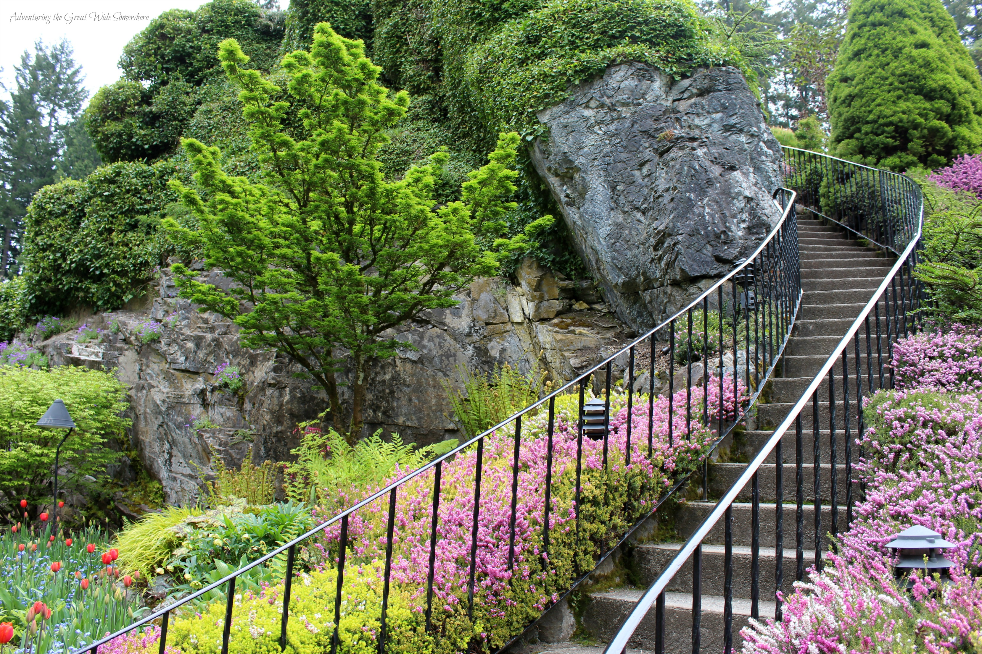 Staircase Up the Viewpoint at Butchart Gardens