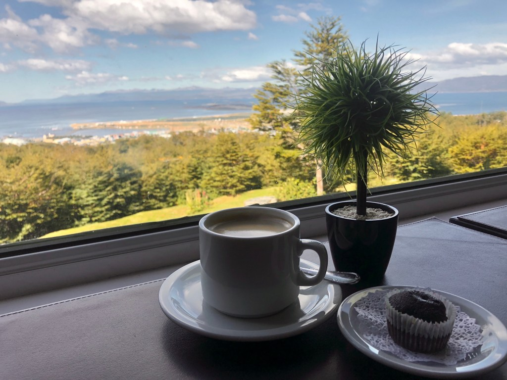 A cup of coffee and a tiny spiny potted plant overlooking the Beagle Channel and mountains way in the distance.