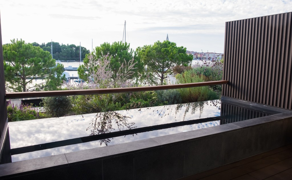 A balcony featuring a small plunge pool, blocked from the public by foliage.