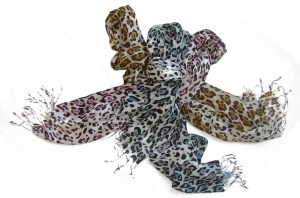 Leopard Spots Prance on Trendy Fraas Scarves,  for Spring
