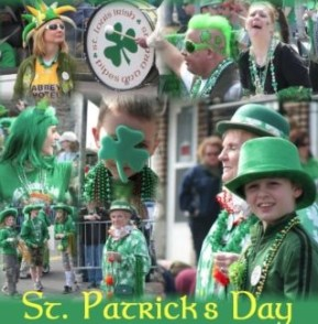 collage of St. Patrick's Day festivities wearing of the green