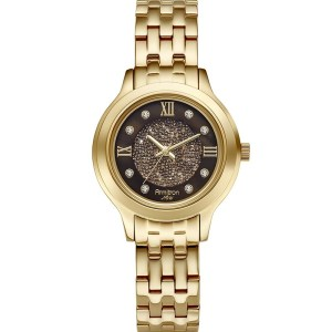 If you want a more traditional watch, this Armitron Gold Plated watch with Swarovski Elements: sparrkles without being too over the top. It's only $80!