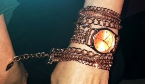 Sara Designs wrap watches are not the same old same old. This one is abut $300 and features that gorgeous rose gold finish, but she has other watches with leather, and all sorts of different looks, some even with beads