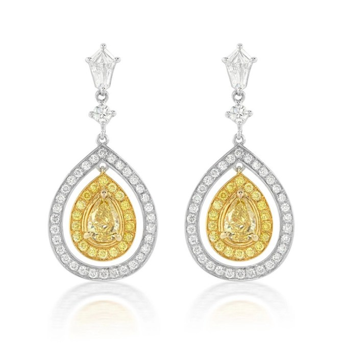 1.42 Carat Fancy Yellow Diamond Earrings