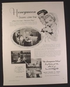 this magazine ad from 1958 honeymoon