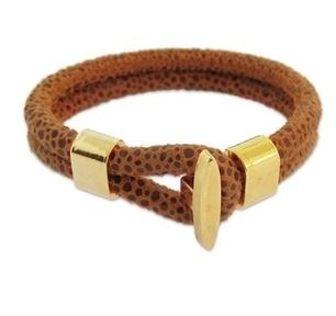 isabelle grace lena bracelet in orange suede with gold toggle  clasp- $88.00