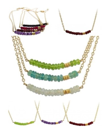 Isabelle Grace Gemstone Bar Necklaces $120