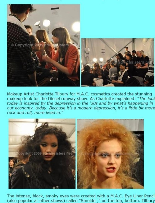 Backstage at the Diesel Runway Show Fall Fashion Week 2009 -An Advice Sisters Feature (exclusive video) *text and photos by Alison Blackman Dunham