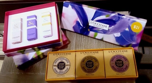 loccitane mothers day mini edt trio ($30) and savons de provence ($21.00)