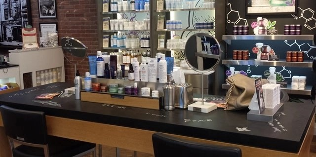 at the Brooklyn Heights Kiehls Store you'll sit at this spacious island for your free analysis