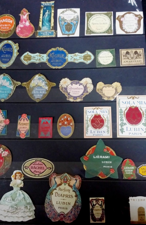 a collection of beautiful labels from Lubin perfume bottles of the past