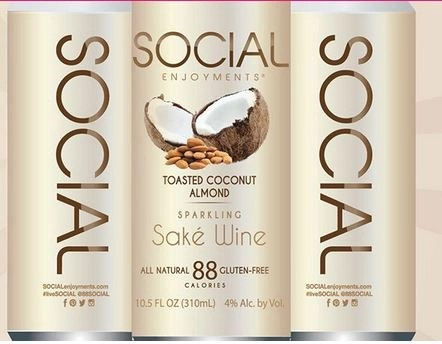 Social enjoymnet sparkling wine toasted coconut almond