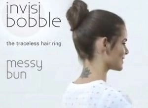messy bun created with invisibobble
