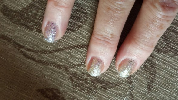 sally hansen ombre glitter nails closeup