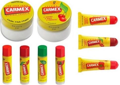 some of the many carmex lip balms