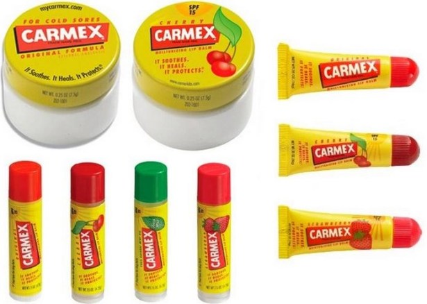 some of the many carmex lip balms