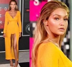Gigi Hadid's sizzling sunlight look at the VMAs last night @GigiHadid, @Pureology, @Maybelline, #VMA2015