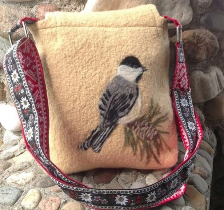 black capped chickadee bag back view