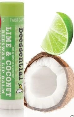 lime and coconut lip balm from beesential