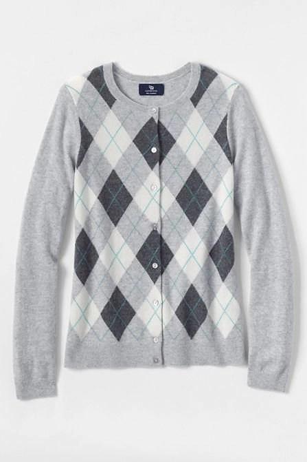 grey argyle cashmere cardigan from lands end
