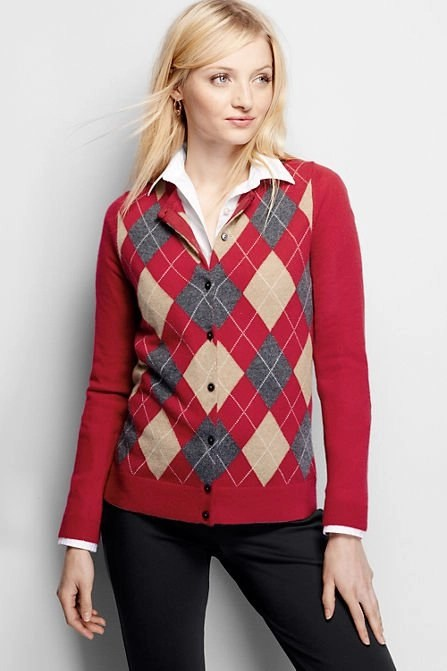 red argyle cashmerer cardigan from lands end