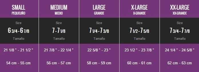 general hat sizing chart