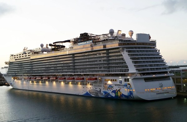at down in the port of Miami, a first look at the NCL Escape the day of the Christening Ceremony